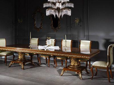 Lüks Çırağan Yemek Masası Altın Varaklı Kahverengi modelimiz 350x120 boyutlarında olup masif ahşap'tan yapılmıştır. Enbiya Alemdar'da sizi bekliyor